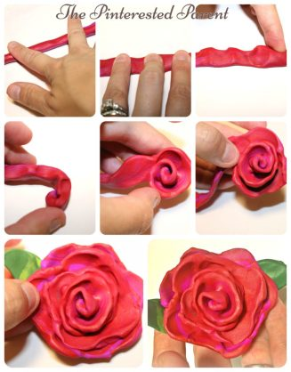 How to make a clay or play dough rose in a minute. quick and easy for clay lovers - kids flower arts & crafts