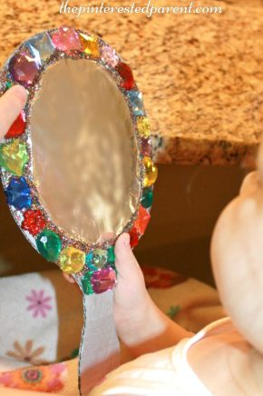 Cardboard jeweled mirror craft for kids - arts & crafts for pretend play.