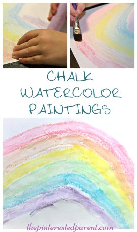 Chalk Watercolor Paintings - easy & beautiful art for kids - rainbow arts & crafts for children.