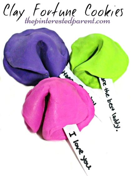 Clay Fortune Cookies - Cute & easy to make - kid's can add their own special messages.