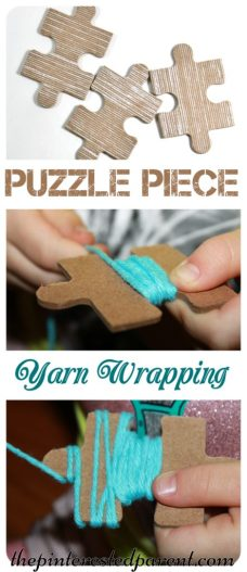 Fine motor activity for kids - use old puzzle pieces to wrap yarn. The notches in the pieces are perfect for wrapping.