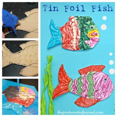 Painterd tin foil embossed fish arts & craft for kids. Great summer craft using aluminum foil, cardboard & glue for embossing.