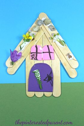 Popsicle Stick Fairy House Nature Craft - Kid's Arts & Crafts ,,