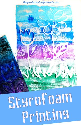 Styrofoam paint printing stamping activity for kids - arts & crafts projects for children