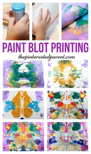 Super Fun messy art - paint ink blot print. Transfer your print & make them again & again.