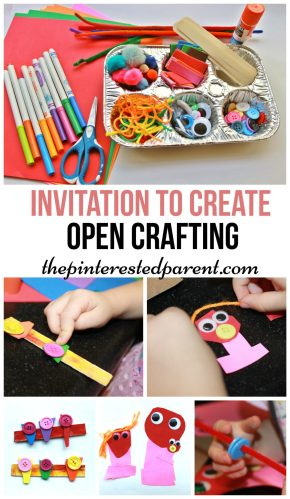 An invitation to create - open ended arts & crafts for kids.