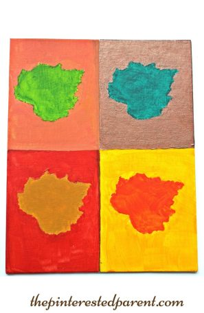 Andy Warhol inspired pop art leaf painting. Fall arts & crafts for the kids..