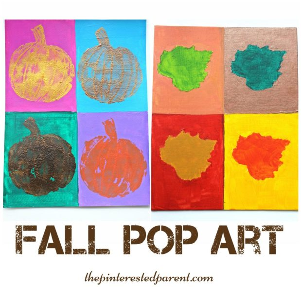 Andy Warhol inspired pop art painting. Fall, autumn arts & crafts for the kids