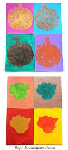 Andy Warhol inspired pop art painting. Fall, autumn arts & crafts for the kids.