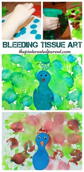 Bleeding Tissue Paper Art - Peacock arts & crafts for kids