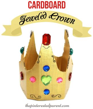 Jeweled Cardboard Crown Craft - great for pretend & role play. Kid's arts & crafts.
