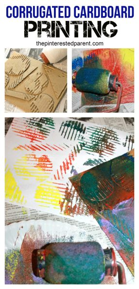 corrugated cardboard printing - paint stamping and printing project for kids