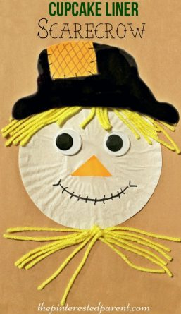 Cupcake Liner Scarecrow Craft - fall / autumn arts & crafts for kids . Halloween