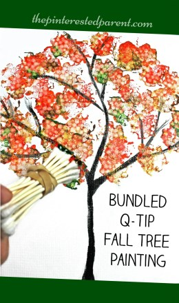 Q-tip fall tree painted with bundled q-tips - autumn arts & craft projects for kids
