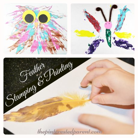 feather stamped painted owl & butterfly process arts & craft for the kids with a feather