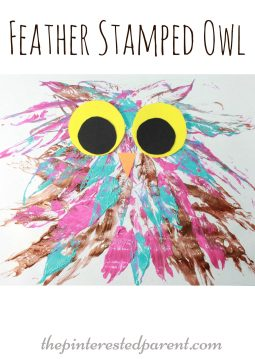 feather stamped painted owl process arts & craft for the kids with a feather