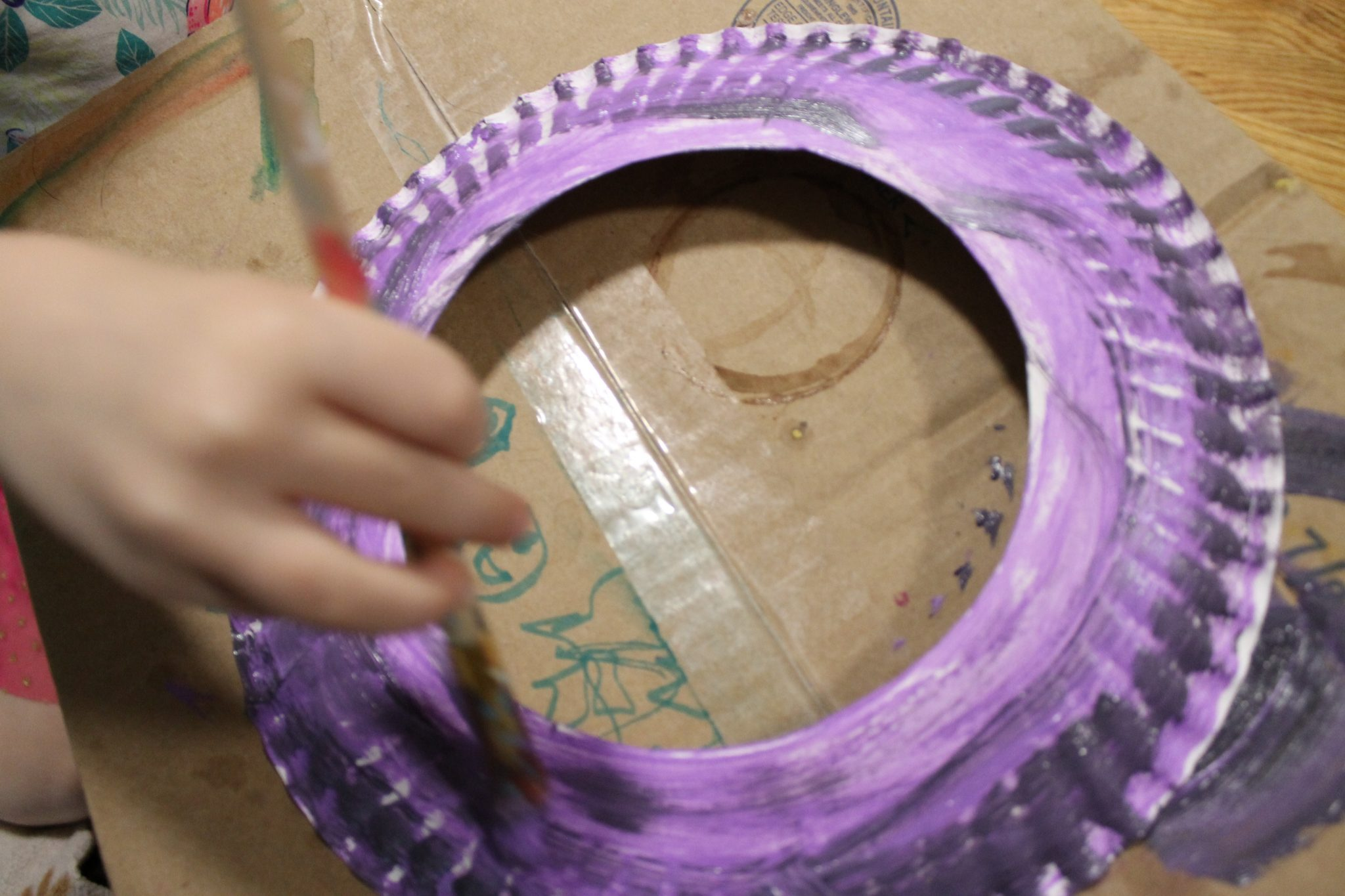 When the paint was dry we flipped the plate over \u0026 glued a piece of wax paper to the back. Because we are impatient we used a couple of pieces of tape to ... & Paper Plate Owl Suncatcher \u2013 The Pinterested Parent