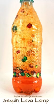Homemade Fall sequin lava lamp - science experiments with oil & water for kids, toddlers & preschoolers