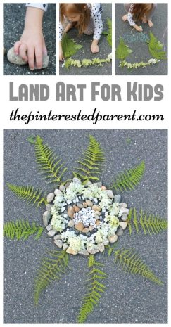 Land art - arts & crafts with nature , rocks, flowers, leaves. Kid's outdoor activities