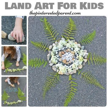 Land art - arts & crafts with nature , rocks, flowers, leaves. Kid's outdoor activities.
