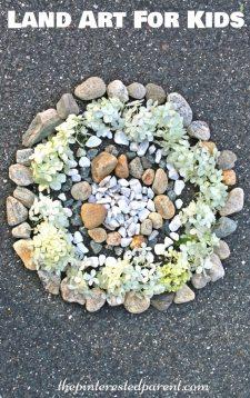 Land art - arts crafts with nature. Kids outdoor activities
