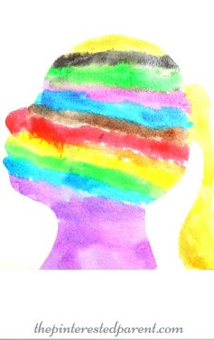 Cut your child's silhouette and paint it in watercolors. kid's arts and crafts - process art, preschoolers