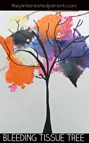 bleeding tissue paper tree painting - spooky night autumn, fall or winter trees. Perfect arts & crafts project for every season for kids and preschoolers