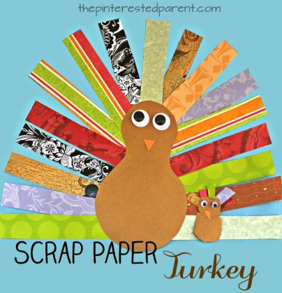 This is a great cutting skills activity and craft. Scrap Paper Turkey Craft for kids. Thanksgiving arts & crafts for preschoolers. Use pieces of scrapbook paper to form this pretty turkey.