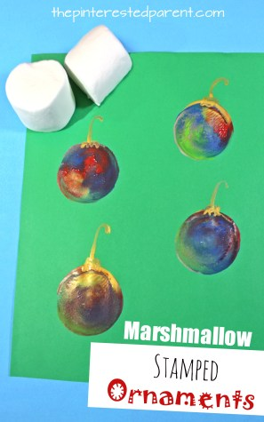 Marshmallow stamped Christmas ornaments. Kids arts and crafts for winter.
