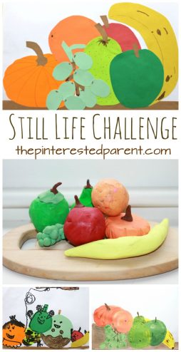 Still Life Challenge for kids - Still life does not just have to be painting. Sketch, paint, cut, glue or mold a still life out of play dough or clay. Kid's and preschoolers arts & crafts - fruit