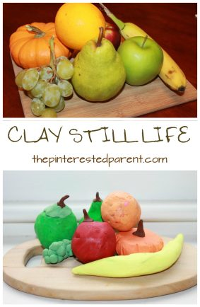 Kid's arts & crafts. Use Play dough or clay to sculpt a still life. Check out the rest of our still life challenge using a fruit still life. Great for preschoolers