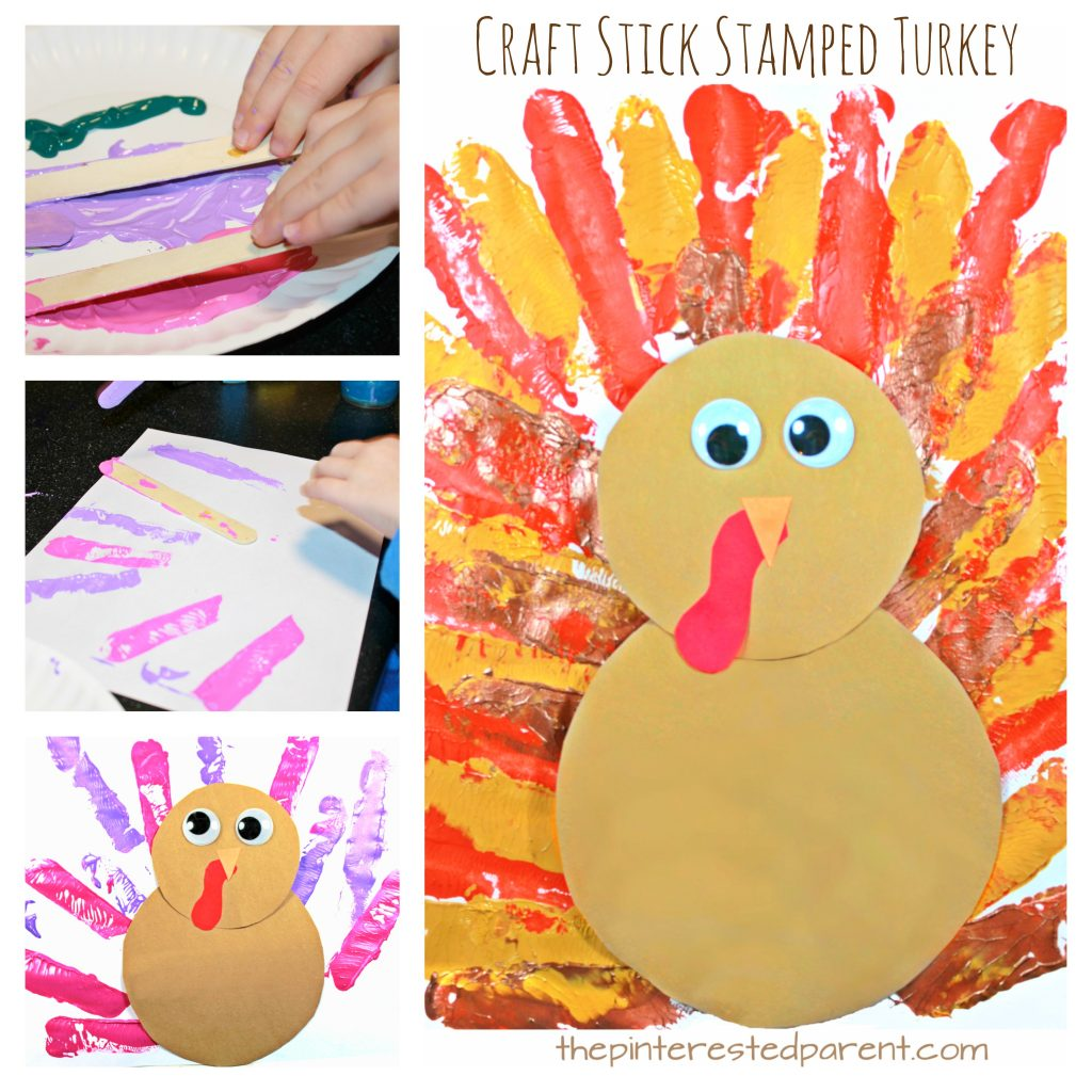 Craft stick stamped turkey for Thanksgiving and fall. Art and crafts for kids - painting with Popsicle sticks - preschoolers