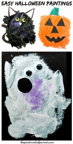 Easy blob painted Halloween paintings. Paint a black cat, ghost or pumpkin. This is a perfect arts and craft activity for toddlers and preschoolers