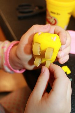 Pasta and play dough or clay cars. Arts and craft projects for kids and preschoolers
