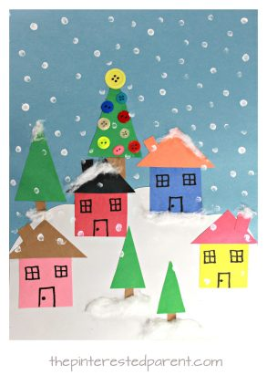 Create these lovely winter Christmas villages with simple shapes and craft materials. Kid's arts and crafts for the holidays with construction paper. Christmas villages with houses, trees and snow