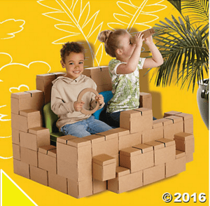 Cardboard building blocks from Oriental Trading. These are great for little engineers and for imagination and pretend play. Your kids will love these.