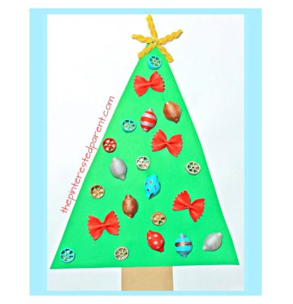 Painted pasta ornaments make the perfect decoration for this adorable Christmas tree craft. Holiday and winter arts and crafts for kids.