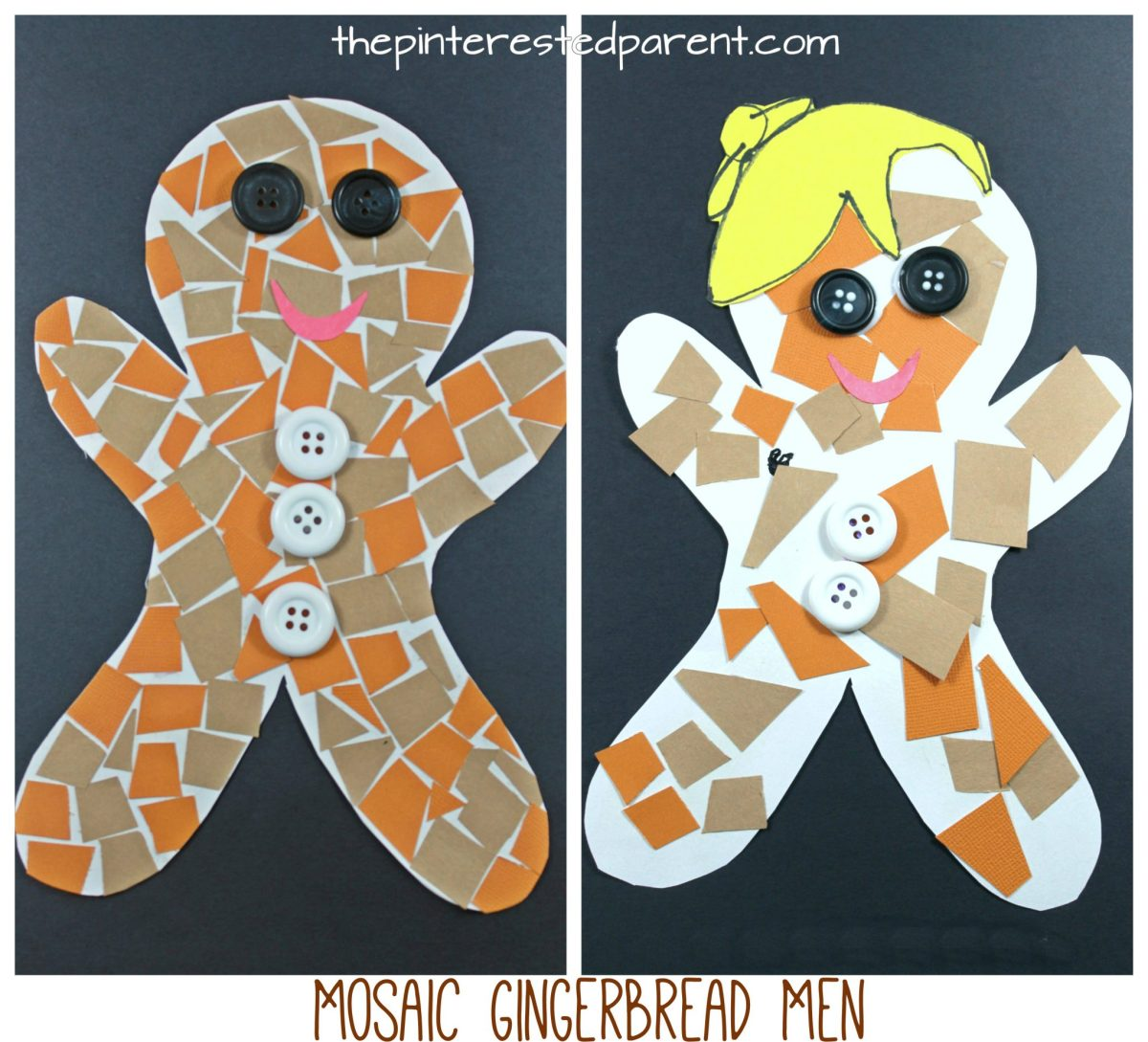 Construction Paper Gingerbread Man Mosaic