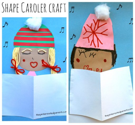 Make these adorable Christmas carolers with simple paper shapes. Holiday and winter arts and crafts for kids. Add yarn or cotton balls for extra embellishment for winter hats or scarves.