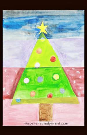 Christmas tree pop art watercolor painting for kids. Kids holiday and winter arts and craft. I love the abstract look to this.