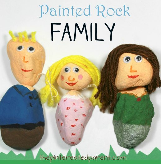 Painted Rock Family - Paint your family or make mix and match people with simple canvases from nature. Arts and craft projects for kids