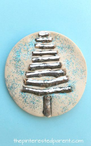 Sticks Tree winter nature crafts - use clay, salt dough or play dough to set these pretty seasonal arts and crafts projects for kids, rock snowman, twig snowflake & Christmas tree
