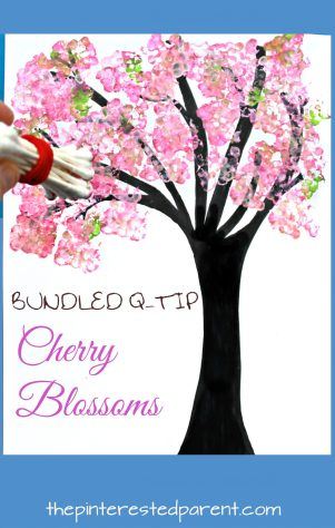 Easy Bundled Q-tip stamped spring Cherry blossom tree paintings. Check out our trees for every season. Winter, spring, summer and fall arts and craft project for kids. Make cherry blossoms or beautiful autumn leaves. Great for toddlers or preschoolers