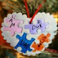 Pieces of my heart salt dough puzzle piece ornaments that kids can actually make. Christmas arts and crafts. This is a sweet handmade gift that your children can make for the family.