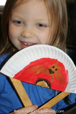 Painted Paper Plate Hand Fans. Great for Chinese New Year or Tet. Kid's & preschooler cultural arts and crafts ideas