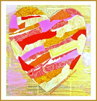 Torn scrap book paper heart craft for kids. Easy & pretty Valentine's mixed media art project for preschoolers and kids. Painted newspaper arts & crafts