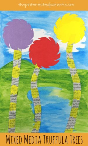 Mixed media truffula tree art inspired by Dr. Seuss' 'The Lorax'. Kid's arts and crafts,onspired by books. Earth Day crafts. Watercolor painting, newspaper, construction paper, markers