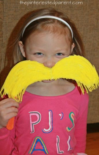 Yarn Lorax mustache - Dr. Seuss book inspired crafts for kids. arts. crafts and pretend paly