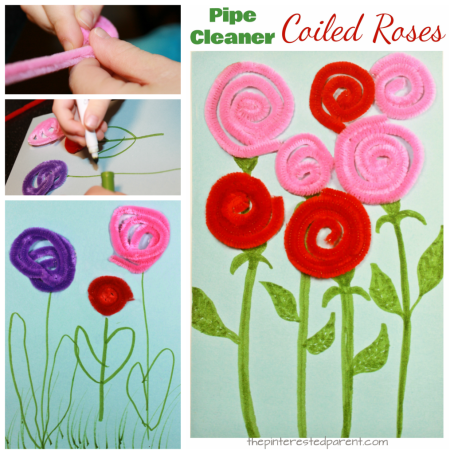 Pipe cleaner or yarn coiled roses. A great fine motor skill arts and craft idea for kids. Perfect for Valentine's Day or Mother's Day or to welcome spring flowers.