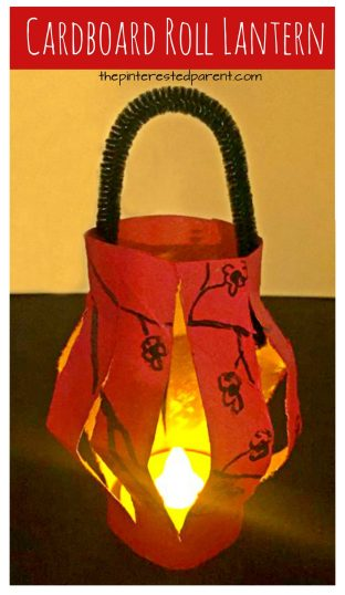Toilet paper roll Chinese Lanterns for the Lunar New Year or Tet. USe recyclable cardboard tubes for this pretty arts and crafts project for kids.